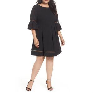 Eliza J Dress Women Black Cut Out Fit Flare 22W